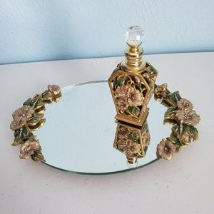 Other - Vanity floral tray mirror with bottle